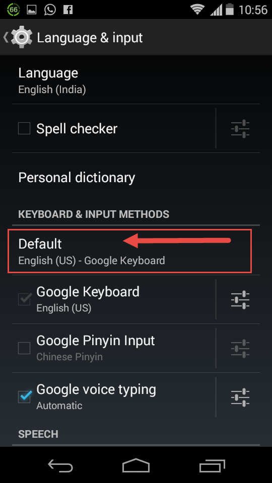 Google default keyboard - change settings