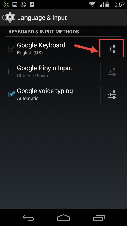 Google keyboard slider icon
