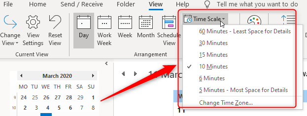 time scale option in outlook calendar