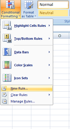 conditional formatting new rule window