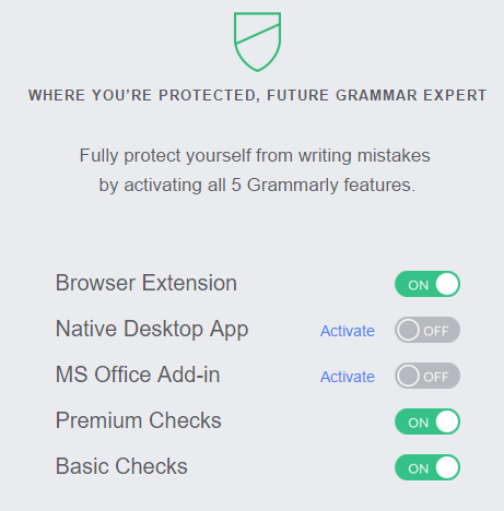 activate all grammarly features