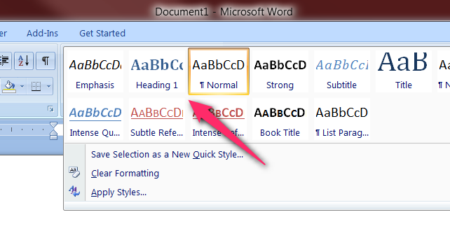 show hidden styles in word 2007