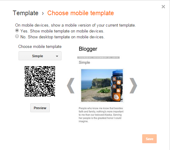 blogger mobile friendly page