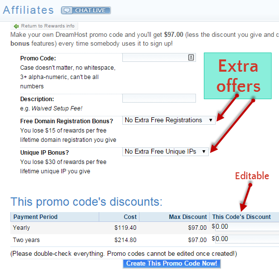 dreamhost affiliate promo code offers