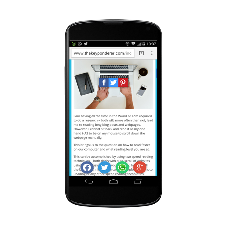 whatsapp button for blog android phone example