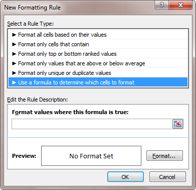 new formatting rule window in MS Excel