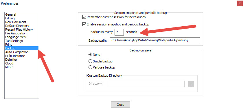 notepad auto backup