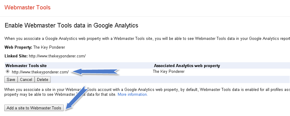 webmaster tools page